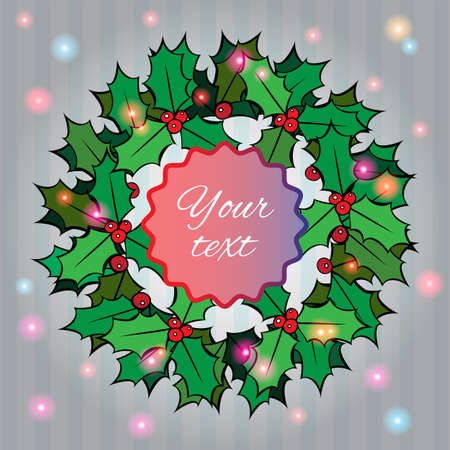 Christmas background with holly berry wreath Stock Vector - 23551513