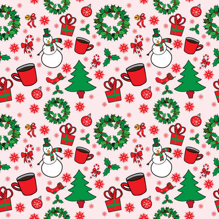 Christmas seamless pattern. Vector illustration Vector