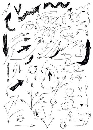 Hand Drawn Doodle Arrows Set Vector
