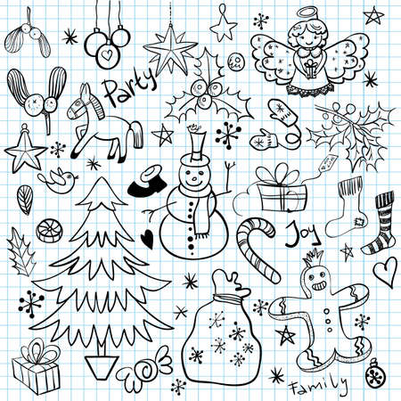 Christmas and Winter Holiday Doodles Vector