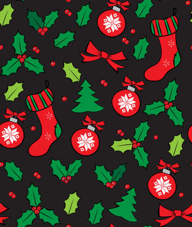 christmas seamless pattern: Black Christmas Seamless Pattern with Holly. Vector illustration