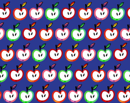 Seamless pattern with apples and leaves. Vector illustration. Vector