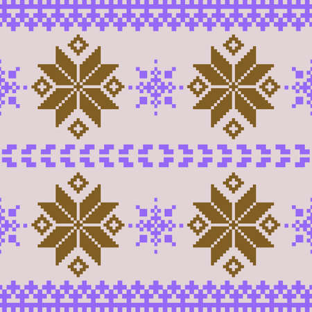 Christmas violet and brown nordic knitted seamless pattern Vector