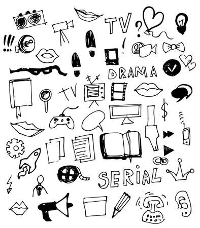 Visual Media Vector Doodle Vector