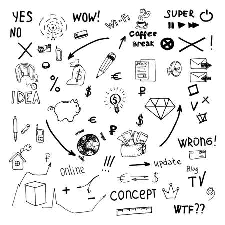 Business doodles  Vector Illustration Stock Vector - 25157546