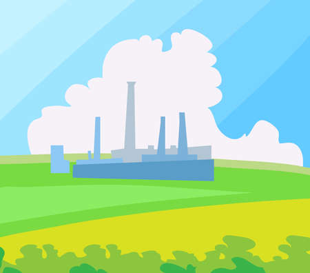 Factory landscape. Vector Illustration. Vector