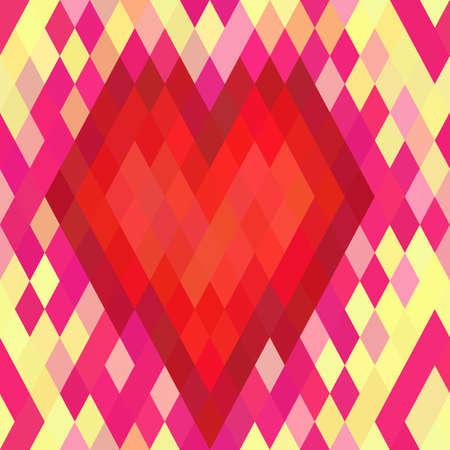 Geometric heart seamless pattern. Vector Illustration. Vector