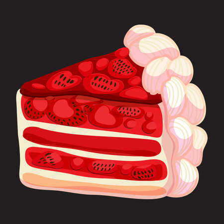 Delicious piece of strawberry cake. Vector illustratoin. Vector