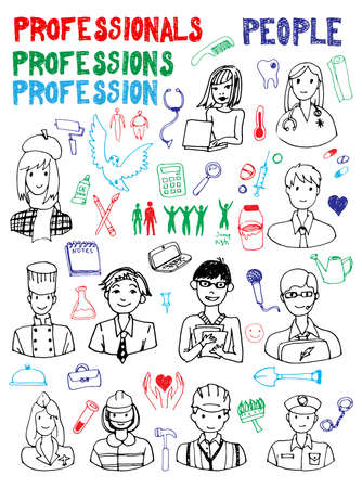 Professions and tools doodles. Hand drawn illustration. Vector