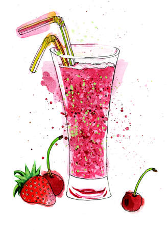 fruit smoothie: Watercolor Painting with glass of fruit smoothie