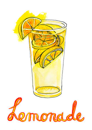 Watercolor Painting with glass of lemonade photo