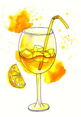 limon: Watercolor Painting with refreshing glass of yellow juice Stock Photo