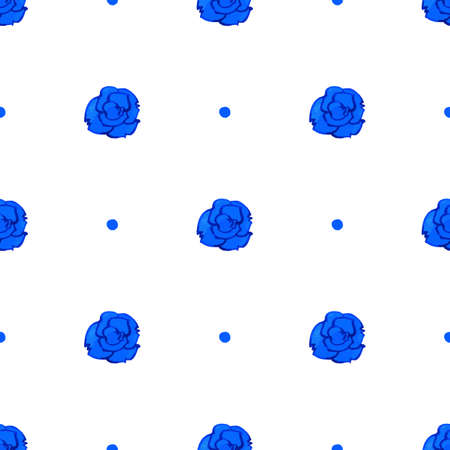 blue rose: Vector seamless pattern with blue rose. Watercolor graphical texture background.