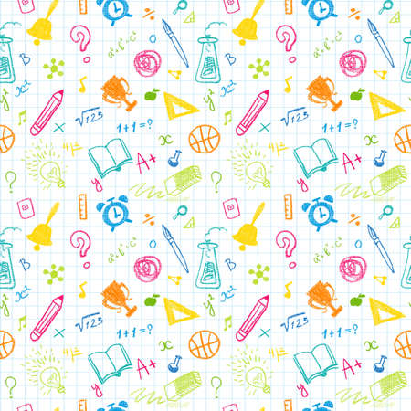 Hand Drawn Chalk School Doodled Pattern on White Checkered Background