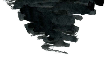 taint: Black ink abstract shape isolated on white background. Hand drawn texture. Stock Photo