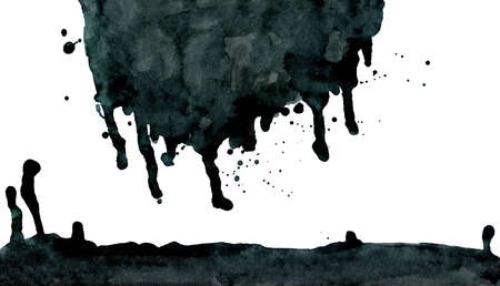 taint: Black ink abstract dripping shape isolated on white background. Hand drawn texture.