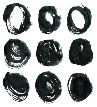 taint: Black ink round shapes isolated on white background. Hand drawn texture.