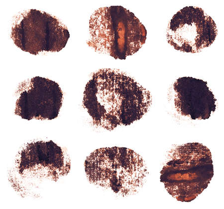 taint: Brown sepia ink round shapes isolated on white background. Hand drawn texture.