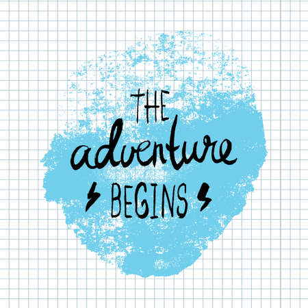 begins: The Adventure Begins lettering calligraphy. Hand written decorative word, design element, banner phrase, poster template. Vector illustration.