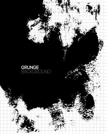 black textured background: Black grunge textured background painted by brush. Vector illustration.