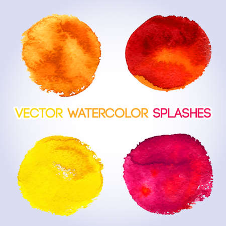 red color: Warm colors, yellow, orange, red, pink  watercolor round shaped design elements. Vector illustration