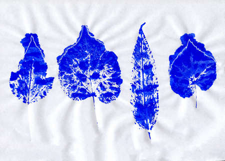 dry leaves: Set of blue stamped dry leaves on crumpled paper Stock Photo