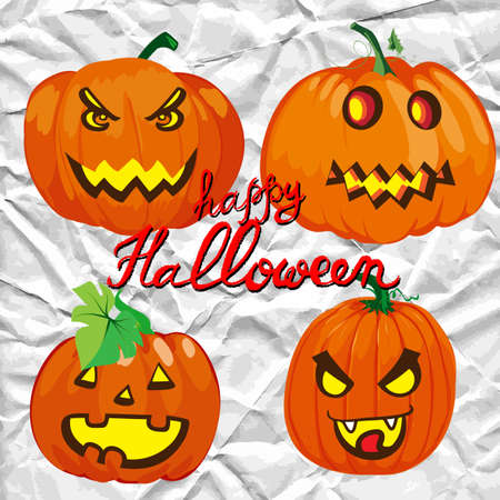 jack o  lanterns: Set of spooky halloween jack o lanterns. Hand drawn vector illustration.