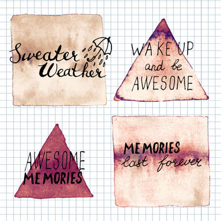 memories: Sweater weather, awesome memories, memories last forever,  lettering motivation saiyngs. Hand written inspirational saying.  Poster Template