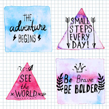 brave: Traveling lettering motivation watercolor stain background. hand written inspirational saying.  Poster Template Illustration