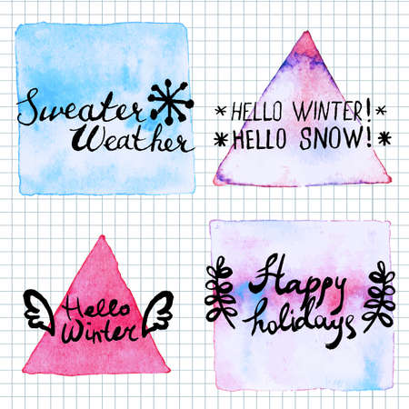 hand written: Winter lettering motivation watercolor stain background. Hand written inspirational saying.  Poster Template