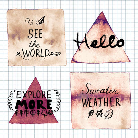 refranes: Hello, See the world, Sweater weather, explore more, lettering motivation sayings. Hand written inspirational saying.  Poster Template Vectores
