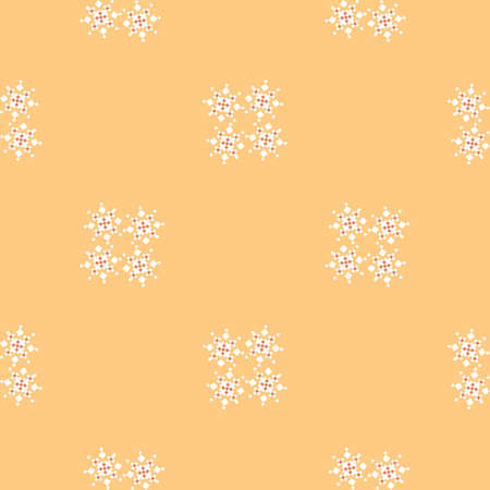buttercream: Buttercream colored simple geometric pattern with snowflakes. Abstract pattern for wallpapers, covers, web page backgrounds. Vector fabric texture. Illustration