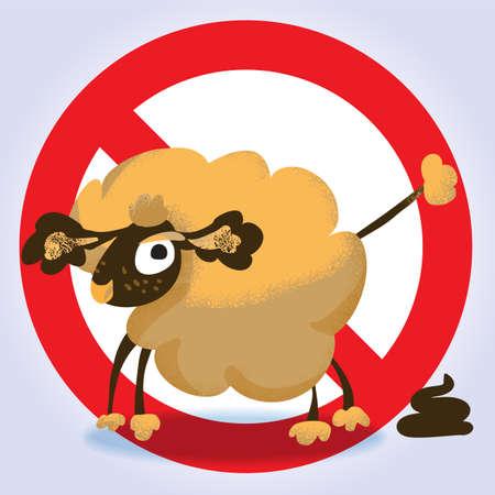 filth: Information sign for dog owners No dog pooping. Vector illustration.