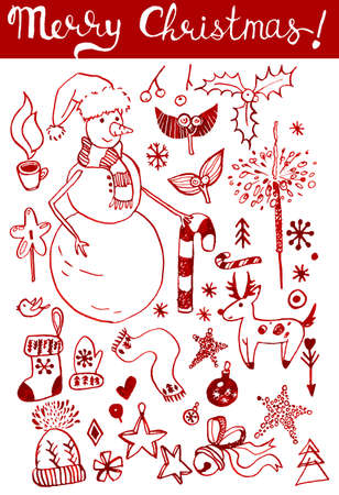 winter holidays: Hand drawn red seasonal winter holidays doodles made on white background. Vector illustration.