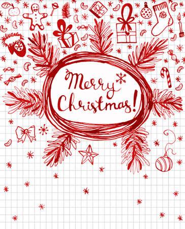 winter holidays: Hand drawn red seasonal winter holidays doodles made. Vector illustration. Illustration
