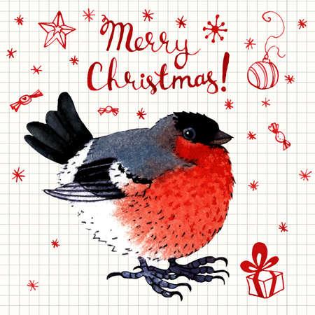 bullfinch: Vector watercolor  Merry Christmas greeting card with a bullfinch
