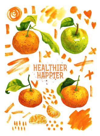 happier: Hand drawn watercolor poster with tangerines, green apple and message: healthier happier