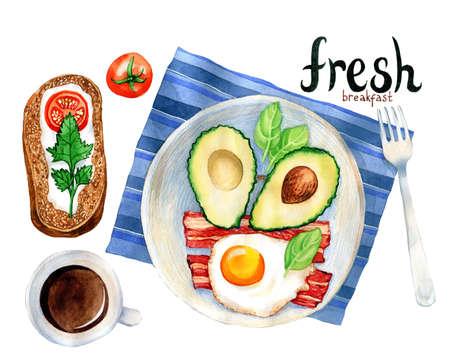 朝食の食事の水彩イラスト: スクランブルエッグ、アボカド、ベーコン、コーヒー。手描きのイラスト。