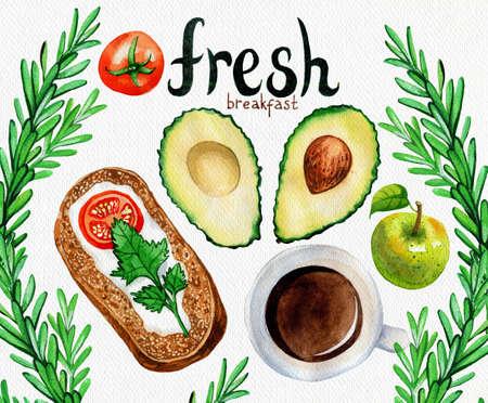 manjar: Ilustración de la acuarela de una comida de desayuno: huevos revueltos, aguacate, tocino y café. Dibujado a mano ilustración.