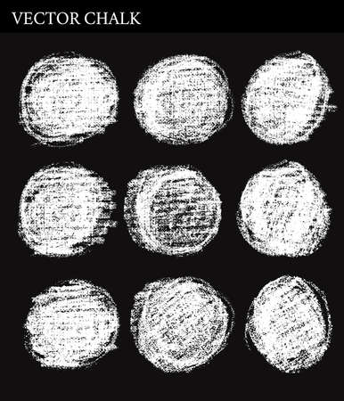 white chalk: Vector Chalk Circle frames. Hand drawn illustration.