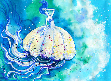 medusa: Jelly fish watercolor painting. Sea life hand drawn illustration with white medusa in blue ocean Stock Photo