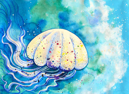 Jelly fish watercolor painting. Sea life hand drawn illustration with white medusa in blue ocean Stock Photo