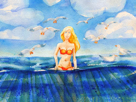 mew: Painting with beautiful blond girl in swimsuit standing in blue ocean. Watercolor travel and vacation illustration.