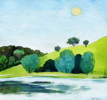 jogging park: Beautiful watercolor of public park with clear lake in daylight. Original watercolor landscape painting.