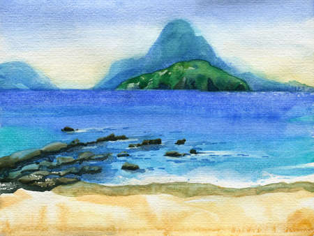 tropical beach with islands on horizon. Watercolor travel and vacation illustration.
