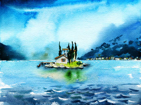 cypress: Rainy lake with island on horizon. Lone small house with cypress on island with. Watercolor travel and vacation illustration.