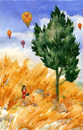 cypress: Beautiful yellow grass fields, cypress and girl working outdoor with air balloons in the distance. Watercolor travel and vacation illustration. Original landscape painting.
