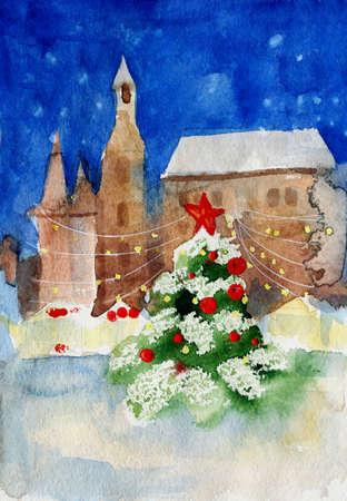聖誕樹在城市夜間水彩畫 版權商用圖片