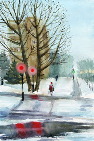 greening: Winter town view, roads covered with snow, pedestrian on the crossroad. Hand drawn greening card.