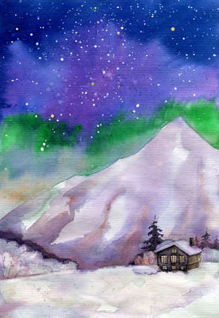 Old wooden cabin in the mountains under Northern Lights watercolor painting. Hand drawn greening card.